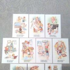 Postales: COLECCION 10 POSTALES ANTIGUAS SIN CIRCULAR TEMA INFANTIL CON RIMAS ESTAMPERIA RAM BARCELONA. Lote 182327417