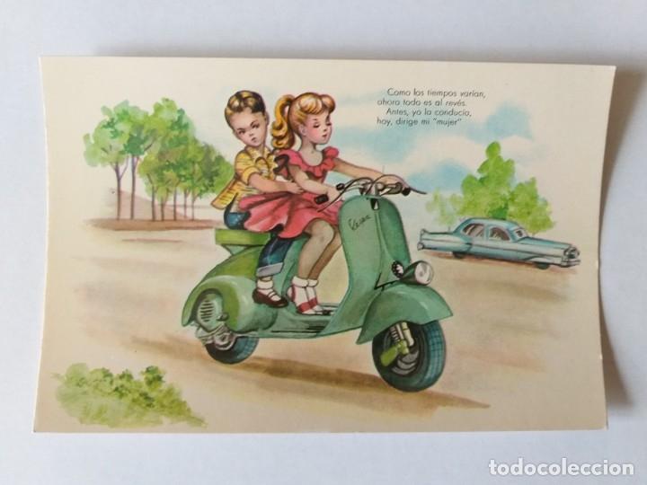 POSTAL ILUSTRADA. NIÑOS MONTADOS EN UNA MOTO VESPA. Nº 4 (Postales - Dibujos y Caricaturas)