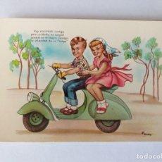 Postales: POSTAL ILUSTRADA. NIÑOS MONTADOS EN UNA MOTO VESPA. Nº 3. Lote 222389476