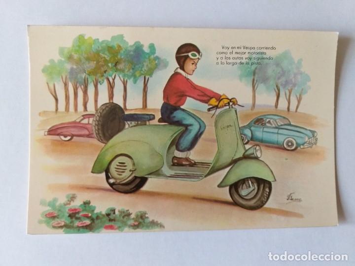 POSTAL ILUSTRADA. NIÑO MONTANDO EN UNA MOTO VESPA. Nº 5 (Postales - Dibujos y Caricaturas)