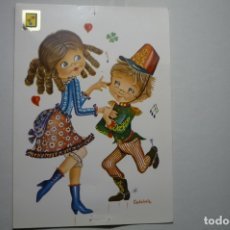 Postales: POSTAL DIBUJO CASTAÑER .-BAILARINES ESCRITA. Lote 183328742