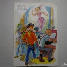 Postales: POSTAL DIBUJO COWBOYS EN SALON ESCRITA. Lote 183330730