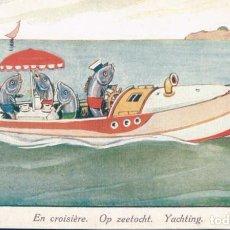 Postales: POSTAL CARICATURA PECES MARINEROS EN LANCHA - EN CROISIERE - OP ZEETOCHT - YACHTING. Lote 183774801