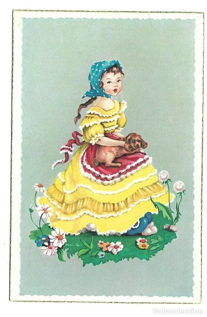 Postales: 3 BONITAS POSTALES ANTIGUAS DE - NIÑAS - COLECCION - LA PALOMITA DE 1.959 - NUEVAS - Foto 3 - 184032993
