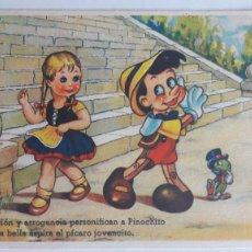 Postales: 1 POSTAL EDICIONES COLÓN. SERIE 107 (PINOCHO). CONCESION EXCLUSIVA DISNEY. SIN CIRCULAR. Lote 184048806