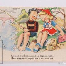 Postales: POSTAL ILUSTRADA POR BOMBÓN - LA PESCA ES DELICIOSA. SERIE 58 - ED. ARTIGAS / EDICIONES DE ARTE IKON. Lote 185983132