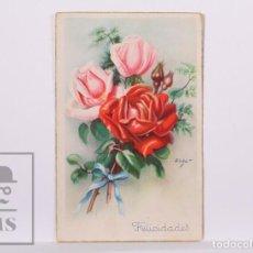 Postales: POSTAL ILUSTRADA POR ZSOLT - ROSAS ROJAS Y ROSAS. SERIE 5527 - ED. ARTIGAS / LAIETANA. Lote 185985716