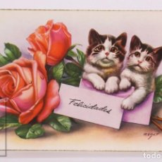 Postales: POSTAL ILUSTRADA POR ZSOLT - ROSAS Y GATITOS. SERIE 2307 A - ESCRITA AL DORSO - AÑOS 50. Lote 186298922