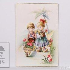 Postales: POSTAL ILUSTRADA POR NURIA BARÓ - NIÑOS CON FLORES - 509/B - C Y Z. Lote 186301013