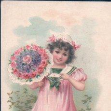 Postales: POSTAL MON MEILLEUR SOUVENIR - DIBUJO NIÑA CON RAMO DE FLORES Y VESTIDO MARINERO . Lote 186325381