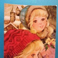 Postales: NIÑAS CON REGALOS DE NAVIDAD. BONITA POSTAL. NUEVA. Lote 188450208