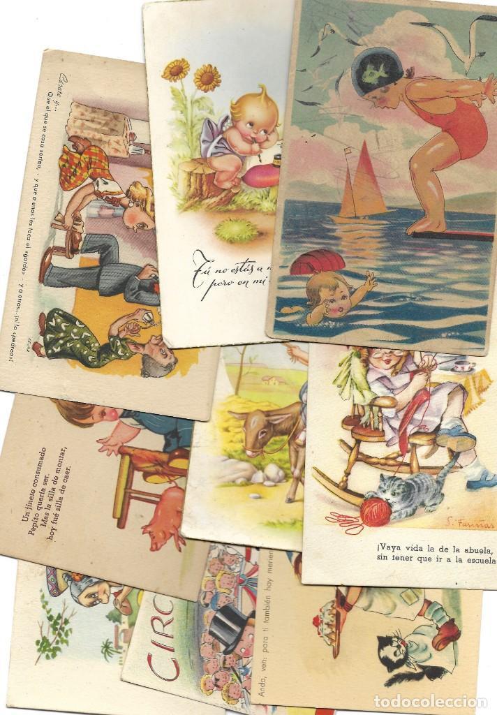 LOTE 9 POSTALES CON DIBUJOS MANUSCRITAS Y SIN CIRCULAR AÑOS 40 TODAS ESPAÑOLAS (Postales - Dibujos y Caricaturas)