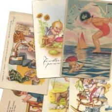 Postales: LOTE 9 POSTALES CON DIBUJOS MANUSCRITAS Y SIN CIRCULAR AÑOS 40 TODAS ESPAÑOLAS. Lote 188588620