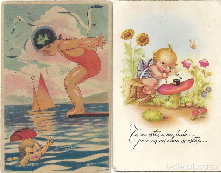Postales: LOTE 9 POSTALES CON DIBUJOS MANUSCRITAS Y SIN CIRCULAR AÑOS 40 TODAS ESPAÑOLAS - Foto 2 - 188588620
