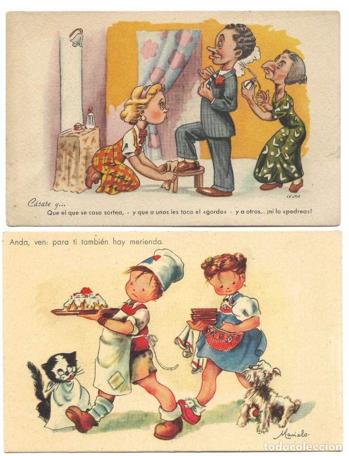 Postales: LOTE 9 POSTALES CON DIBUJOS MANUSCRITAS Y SIN CIRCULAR AÑOS 40 TODAS ESPAÑOLAS - Foto 4 - 188588620