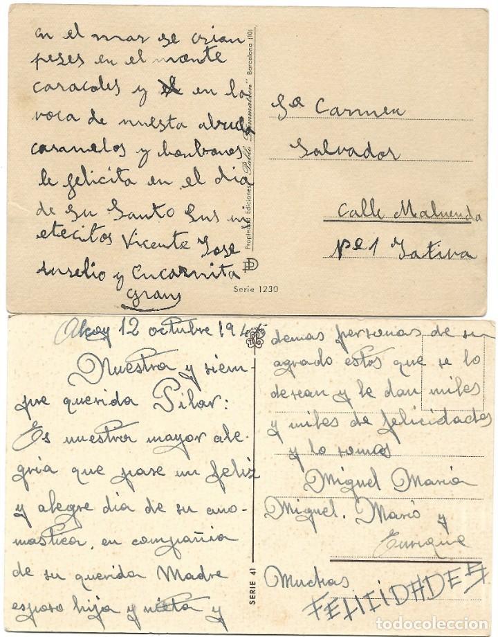 Postales: LOTE 9 POSTALES CON DIBUJOS MANUSCRITAS Y SIN CIRCULAR AÑOS 40 TODAS ESPAÑOLAS - Foto 5 - 188588620