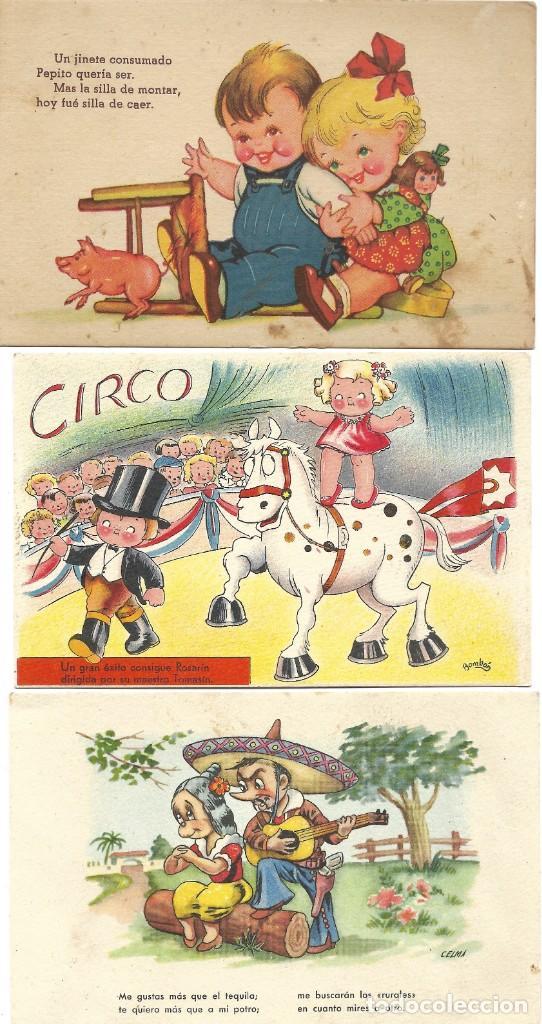 Postales: LOTE 9 POSTALES CON DIBUJOS MANUSCRITAS Y SIN CIRCULAR AÑOS 40 TODAS ESPAÑOLAS - Foto 8 - 188588620