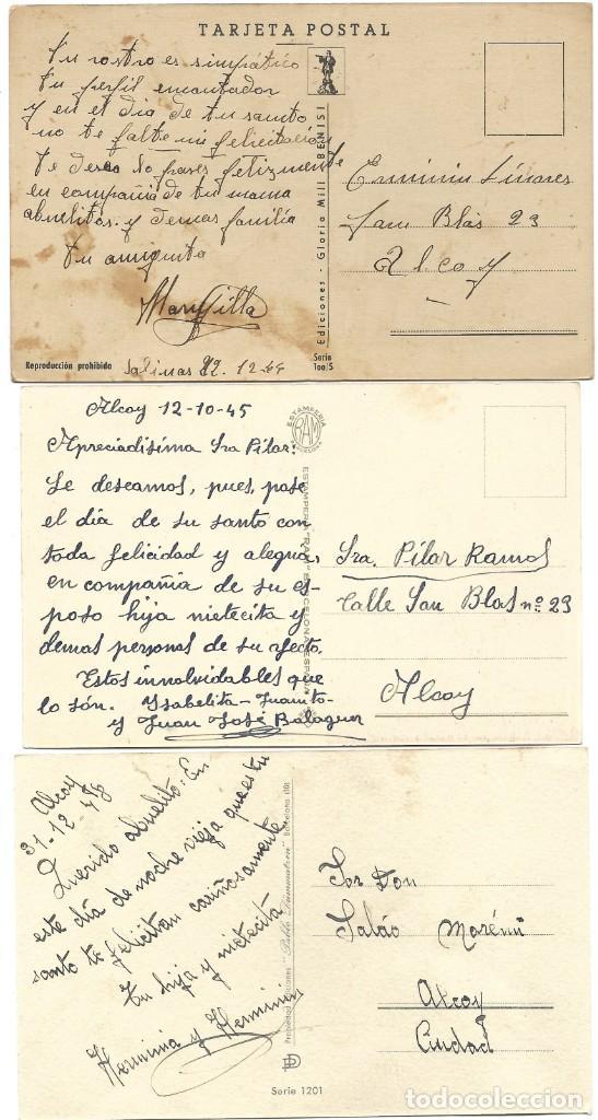 Postales: LOTE 9 POSTALES CON DIBUJOS MANUSCRITAS Y SIN CIRCULAR AÑOS 40 TODAS ESPAÑOLAS - Foto 9 - 188588620