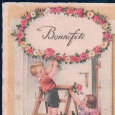 Postales: POSTAL DIBUJO NIÑOS ADORNANDO CON FLORES - BONNE FETE - JMPORT 6. Lote 188734133