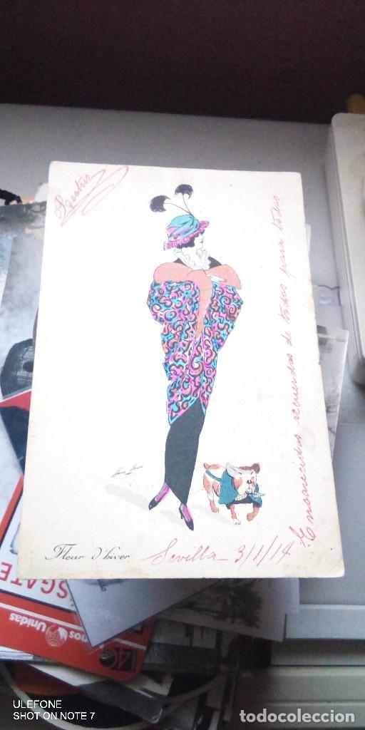 POSTAL ESCRITA FLEUR D`HAVER 1914 (Postales - Dibujos y Caricaturas)