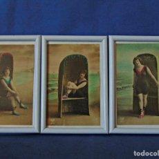 Postales: TRES POSTALES ILUSTRADAS SIN CIRCULAR ENMARCADAS. MEDIDAS 11 X 16 CM.. Lote 190753096