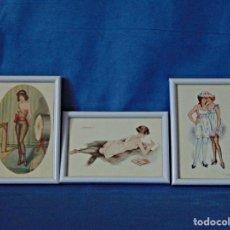 Postales: JUEGO DE TRES POSTALES ERÓTICAS SIN CIRCULAR ENMARCADAS. 11 X 16 CM.. Lote 190755795