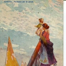 Postales: MADRE E HIJA VIENDO PARTIR A LOS PESCADORES-MODERNISTA. Lote 190804825