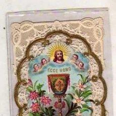 Postales: ESTAMPA DE PUNTILLA O CALADA. PRIMERA COMUNIÓN 10 X 6 CM ECCE HOMO. Lote 191264518