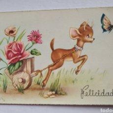 Postales: POSTAL FELICIDADES CERVATILLO CON FLORES ESCRITA AÑO 1953 C Y Z. Lote 191370236