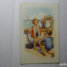 Postales: POSTAL EN LA PLAYA.-DIBUJO GIRONA.-ESCRITA. Lote 191661066