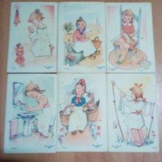 Postales: LOTE DE 6 POSTALES DE LA MISMA COLE CREATOR PDO Nº 102 103 104 105 106 Y 107 TRAJE DE ROPA. Lote 191815086