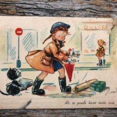 Postales: ANTIGUA TARJETA POSTAL, NO SE PUEDE HACER TANTA COSA JUNTA.. Lote 192592090