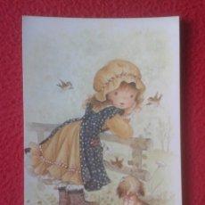 Postales: TARJETA TIPO POSTAL POST CARD DIBUJO CARICATURA NIÑA CON SOMBRERO CON PERRO Y PAJARITOS C. Y Z. VER . Lote 194183235