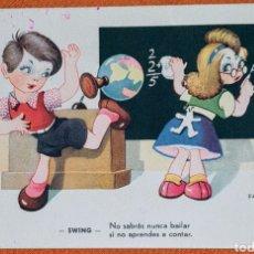 Postales: ANTIGUA TARJETA POSTAL ILUSTRADA POR RARIÑAS, LEYENDA NO SABRÁS NUNCA BAILAR SI NO APRENDES A CONTAR. Lote 194573305