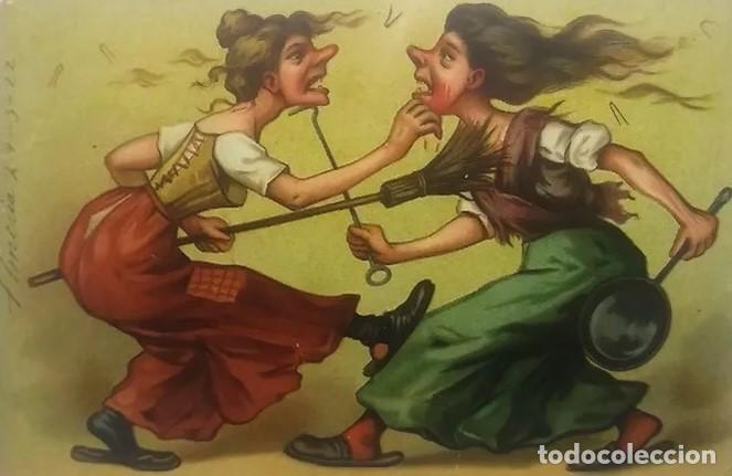 CARICATURA DE 2 MUJERES PELEANDO A ESCOBAZOS. POSTAL ANTIGUA ENVIADA DESDE ALMERÍA EN 1922. (Postales - Dibujos y Caricaturas)
