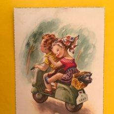 Postales: DIBUJOS Y CARICATURAS. POSTAL. CON MI VESPA... SERIE 2091 (A.1960?) ESCRITA.... Lote 194721043