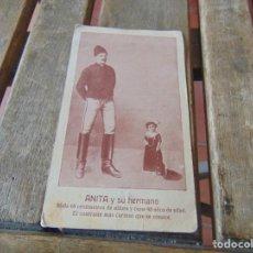 Postales: TARJETA POSTAL ANITA Y SU HERMANO MIDE 65 CM DE ALTURA Y TIENE 43 AÑOS. Lote 194771300