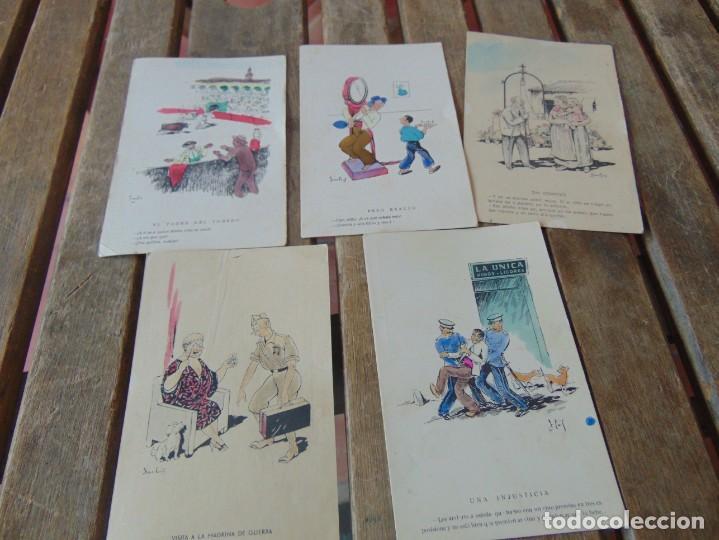 TARJETA POSTAL LOTE DE 5, CHISTES Y CARICATURAS EDICIONES VANDALIA SEVILLA AÑOS 40 (Postales - Dibujos y Caricaturas)