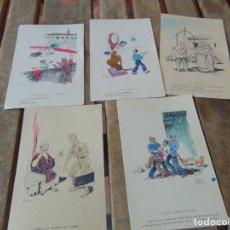 Postales: TARJETA POSTAL LOTE DE 5, CHISTES Y CARICATURAS EDICIONES VANDALIA SEVILLA AÑOS 40. Lote 194774323