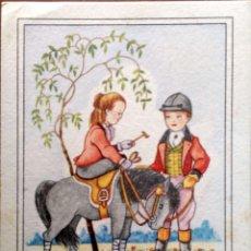 Postales: CUANDO EN SU NOBLE POTRO CABALGABA… NIÑOS CON POTRO. 1221 PABLO DÜMMATZEN. USADA. COLOR. Lote 195064538