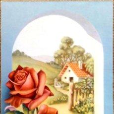 Postales: CYZ. 529/B PAISAJE Y ROSAS. USADA. COLOR. Lote 195064658