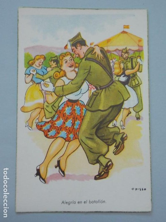 POSTAL MILITAR - ILUSTRADOR OPISSO - SERIE 103 - ALEGRIA EN EL BATALLON - SIN CIRCULAR... L701 (Postales - Dibujos y Caricaturas)