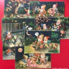 Postales: LOTE DE 7 POSTALES DE ENANITOS - ILUSTRADOR GERMÁN - LUIS GARCÍA GARRABELLA - EDICIONES LUKER. Lote 195491921