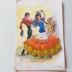 Postales: POSTAL BORDADA Y ENCAJE. TRAJE TIPICO DE BAILADORES FLAMENCOS. DIBUJO IRAOLA.. Lote 196632395