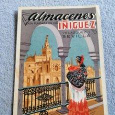 Postales: POSTAL PUBLICITARIA ALMACENES ÍÑIGUEZ SEVILLA FÁBRICA DE MANTONES BORDADOS A MANO. Lote 197300073