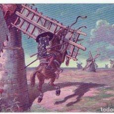 Postales: DON QUIJORTE DE LA MANCHA, NR.5, SEGUNDA SALIDA Y AVENTURURA DE LOS MOLINOS, EDT.AMBOS MUNDOS. Lote 198340378