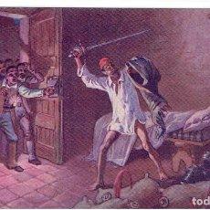 Postales: DON QUIJORTE DE LA MANCHA, NR.12, DESCOMUNAL BATALLA CON LOS CUEROS DE VINO, EDT. AMBOS MUNDOS. Lote 198341207