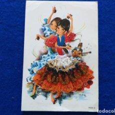 Postales: POSTAL. NIÑAS FLAMENCAS CON CASTAÑUELAS. # 7523. CARICATURA DE NAMA. ENCAJE. CIRCULADA.. Lote 199179682