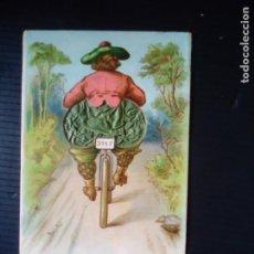 Postales: MUJER EN BICICLETA-POSTAL CON PARTE MÓVIL.. Lote 199830640