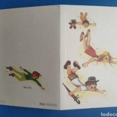 Postales: TARJETA DIPTICO FELICITACIÓN PETER PAN ITALIA /11,5 X 17 CM. Lote 199939990